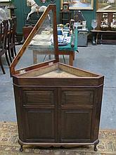MAHOGANY CORNER CABINET WITH GLAZED AND HINGES DISPLAY CASE
