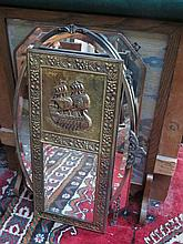 OAK EMBROIDERED FIRE SCREEN AND THREE WALL MIRRORS