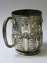 HALLMARKED SILVER REPOUSSE DECORATED TANKARD, LONDON ASSAY, DATED 1892, BY