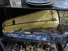 CASED VIOLIN WITH BOW FOR RESTORATION, PAPER LABEL INSIDE 'STRADIVARIUS'