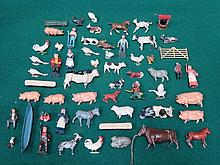 PARCEL OF BRITAINS AND OTHER PAINTED LEAD FIGURES, FARM ANIMALS, ETC.