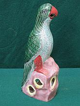 GLAZED AND HANDPAINTED ORIENTAL STYLE CERAMIC PARROT, APPROXIMATELY 24.5cm