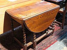 BARLEY TWIST OAK GATE LEG TABLE