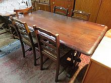 PRIORY OAK REFECTORY STYLE DINING TABLE WITH FOUR CHAIRS