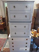 MELAMINE CHEST OF FOUR DRAWERS AND A PAIR OF MELAMINE TWO DRAWER BEDSIDE CH