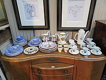 SUNDRY CERAMICS INCLUDING BLUE AND WHITE, PART COFFEE SET, ETC.