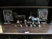 MIXED LOT OF CERAMIC AND OTHER HORSES, FRAMED PRINTS ETC