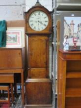 ANTIQUE OAK CASED LONGCASE CLOCK WITH CIRCULAR ENA
