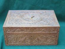 HEAVILY CARVED BURMESE STYLE TREEN STORAGE BOX