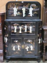 REPRODUCTION BLACK LACQUERED JAPANESE DRINKS CABIN