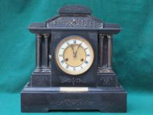 LARGE BLACK SLATE MANTLE CLOCK WITH ENAMELLED AND