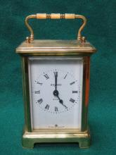BAYARD BRASS AND GLASS CARRIAGE CLOCK