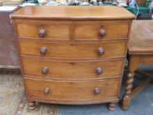 MAHOGANY BOW FRONTED TWO OVER THREE CHEST OF DRAWE
