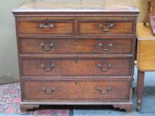 ANTIQUE OAK AND MAHOGANY TWO OVER THREE CHEST OF D