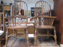 PAIR OF WINDSOR STYLE HIGH BACK ARMCHAIRS