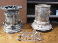TWO SILVER PLATED FLAMBE LAMPS, ETC.