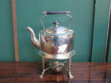 DECORATIVE SILVER PLATED SPIRIT KETTLE ON CLAW SUP