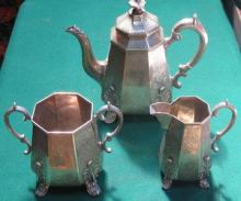 HALLMARKED SILVER EARLY VICTORIAN THREE PIECE COFF