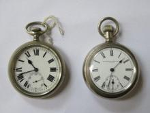 WATERBURY WATCH CO SILVER COLOURED POCKET WATCH AN
