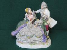 CAPODIMONTE HANDPAINTED AND GILDED GLAZED CERAMIC