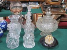 PARCEL OF VARIOUS GLASSWARE INCLUDING VASES, DECAN