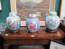 THREE VARIOUS HANDPAINTED CHINESE CERAMIC GINGER J