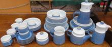 PARCEL OF DENBY STYLE BLUE GLAZED STONEWARE DINNER