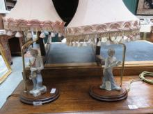TWO LLADRO STYLE CERAMIC FIGURE FORM TABLE LAMPS D