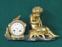 FRENCH STYLE GILT METAL FIGURE FORM MANTEL CLOCK O