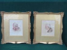 PAIR OF SMALL GILT FRAMED WATERCOLOURS DEPICTING A
