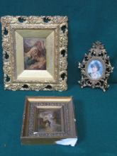 TWO GILT FRAMED CHRISTOLEUMS AND SMALL OVAL PORTRA