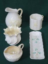 FIVE VARIOUS PIECES OF BELLEEK