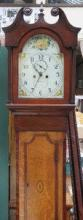 OAK AND MAHOGANY LONGCASE CLOCK WITH HANDPAINTED D