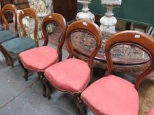 SET OF FOUR MAHOGANY BALLOON BACK DINING CHAIRS AN