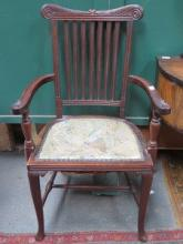 CARVED MAHOGANY FRAMED EMBROIDERED ARMCHAIR