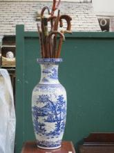 BLUE AND WHITE LARGE CERAMIC VASE AND PARCEL OF VA