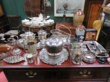 PARCEL OF SILVER PLATED, FLATWARE, ETC. INCLUDING