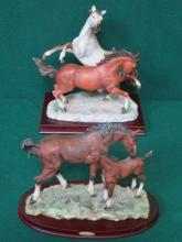 TWO UNGLAZED FIGURE GROUPS DEPICTING HORSES