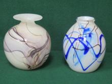 TWO SIGNED ART GLASS VASES