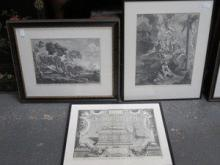 THREE VARIOUS CONTINENTAL STYLE MONOCHROME ETCHING