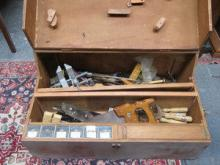 VINTAGE HANDMADE TOOL CHEST CONTAINING VARIOUS TOO
