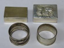 TWO HALLMARKED SILVER MATCHBOX HOLDERS AND TWO HAL