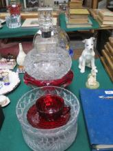 SILVER MOUNTED GLASS DECANTER AND COLOURED AND OTH