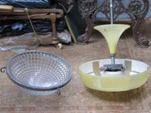 ART DECO STYLE GLASS LIGHT FITTING AND ANOTHER EAR