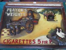 PLAYER'S WEIGHTS' CIGARETTES DECORATIVE ADVERTISIN