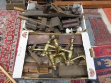 TWO BOXES OF VINTAGE WOODWORKING TOOLS, PLANES, VI