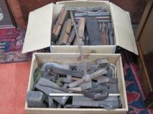 TWO BOXES OF VINTAGE WOODWORKING TOOLS, ETC.