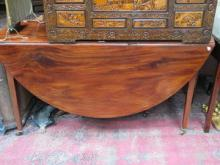 LARGE ANTIQUE MAHOGANY DROP LEAF DINING TABLE