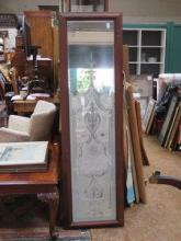 PAIR OF DECORATIVE ACID ETCHED WALL MIRRORS