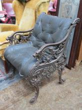 VINTAGE CAST IRON AND LEATHER SINGLE GARDEN CHAIR